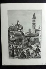Picturesque Europe 1870s Antique Print. Market Place, Valladolid, Spain